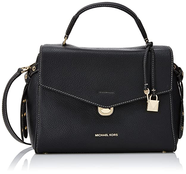 65e03b77ee59 Michael Kors Womens Lenox Satchel Black (Black)  Handbags  Amazon.com