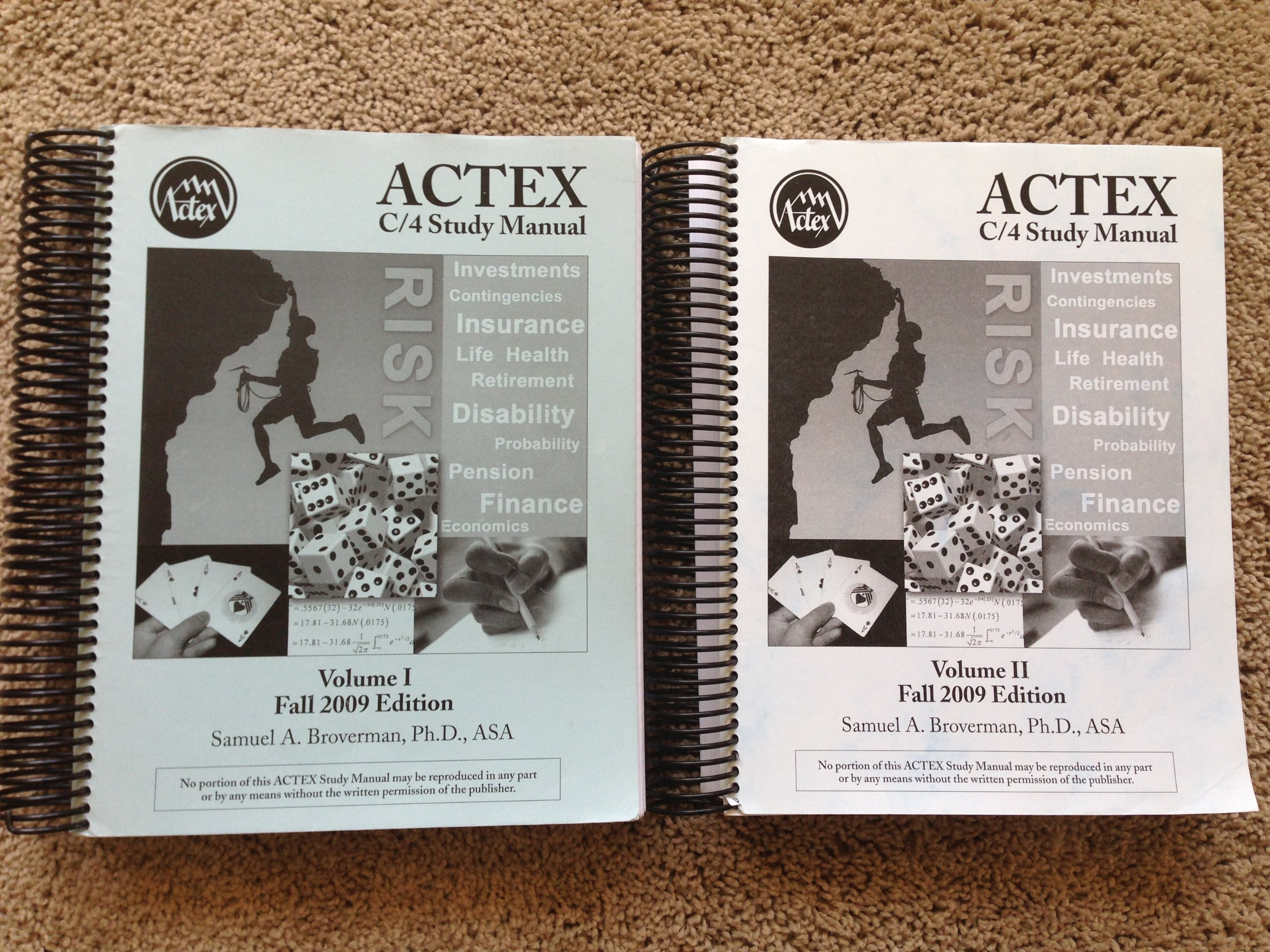 ACTEX Study Manual SOA Exam C / CAS Exam 4 (Volume 1&2): Ph.D., ASA Samuel  A. Broverman: 9781566987004: Amazon.com: Books