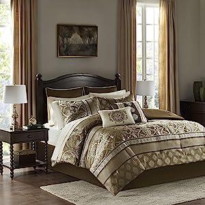 Madison Park Essentials Zara 16 Piece Jacquard Complete Bedding 2 Sheet Sets, Queen, Brown