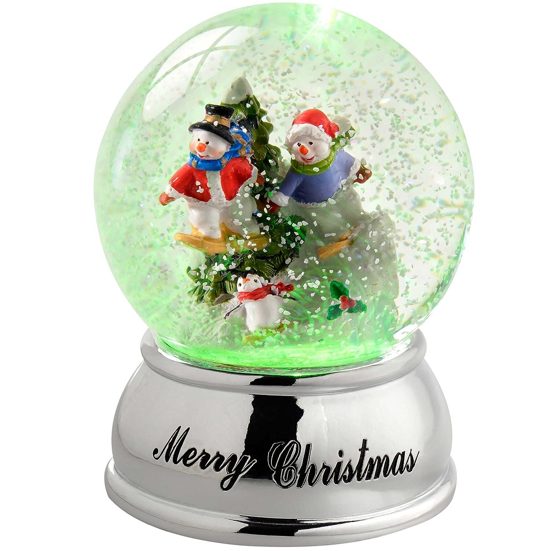 WeRChristmas-Pupazzo di Neve in Palla di Vetro, Cambia Colore da Sci di Natale, in plastica, Colore, 10 cm WRC-7293