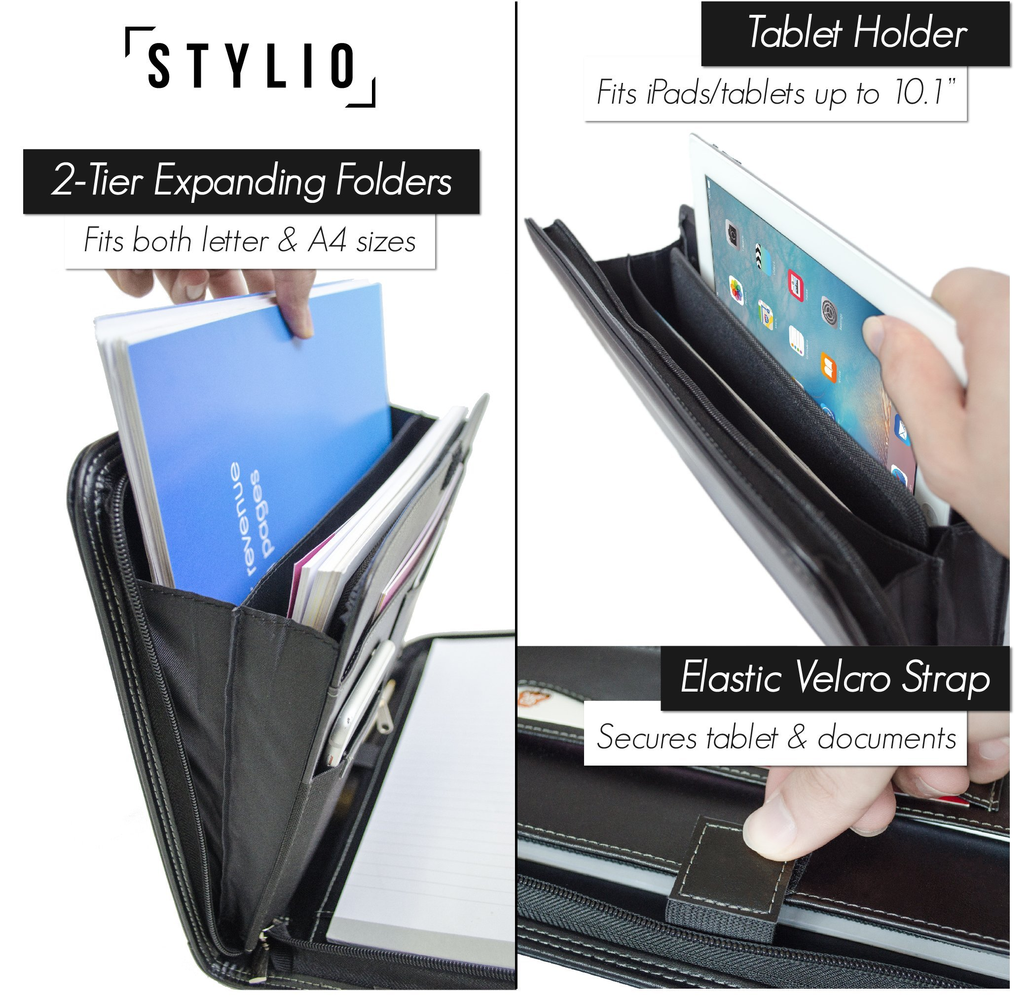 STYLIO Zippered Padfolio Portfolio Binder, Interview Resume Document Organizer. Internal Holders For iPad/Tablet (up to 10.1''), Phone & Business Cards. Faux Leather Data Case with Letter-Sized Notepad by Stylio (Image #4)