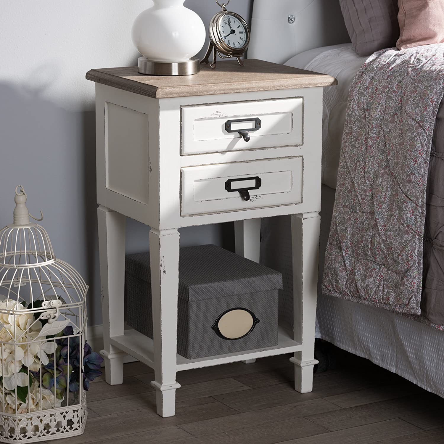 Baxton Studio Nightstand in Distressed Natural and White Finish