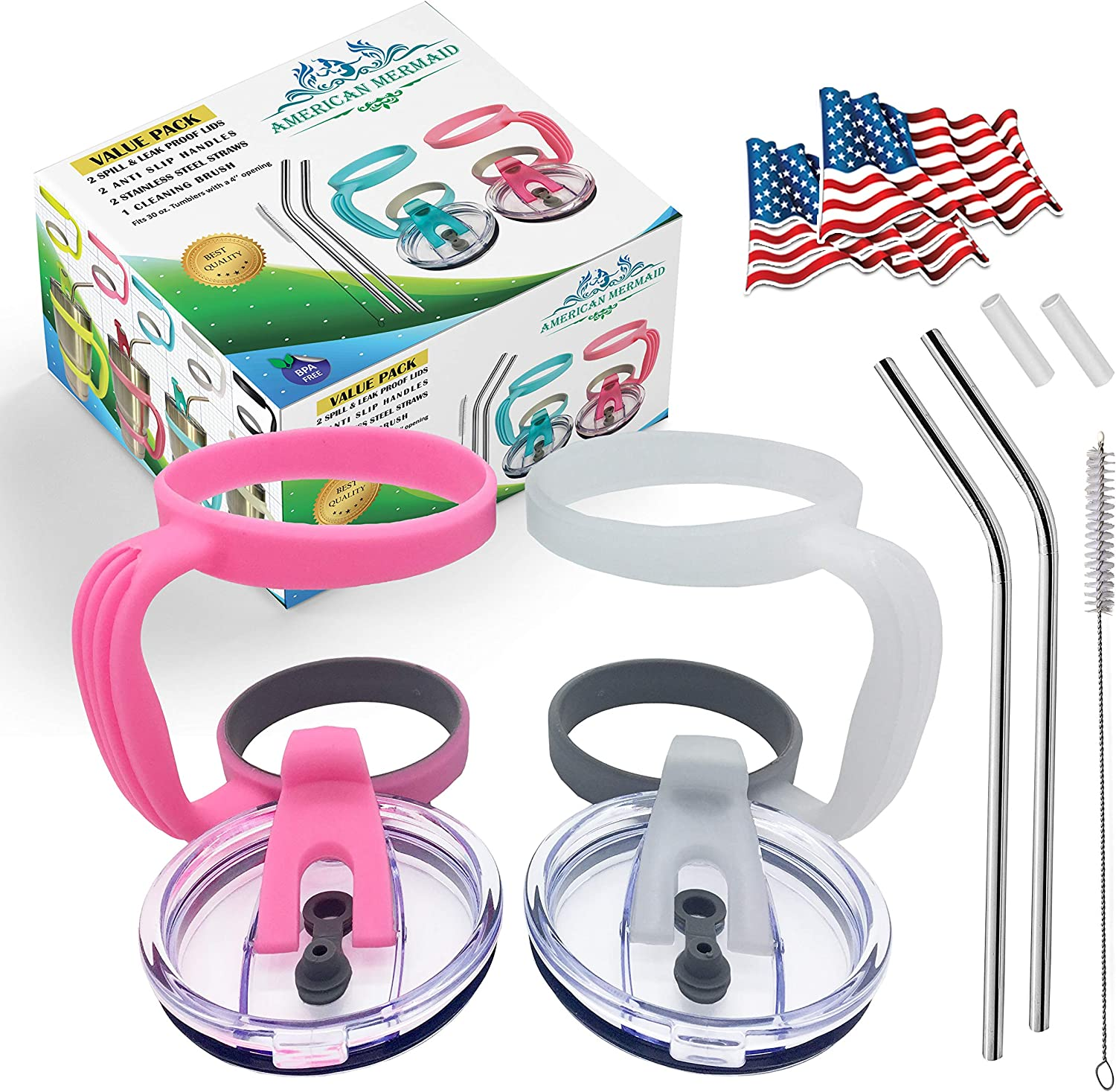 11 PCS, 2 Yeti Lids 30 oz Spill Proof +2 Handles+2 Stainless Steel Straws+2 Silicone Tips+1 Cleaning Brush+2 Flag stickers, Fits Yeti Ramblers and other 30 oz Tumblers same as yeti (Clear-CandyPink)