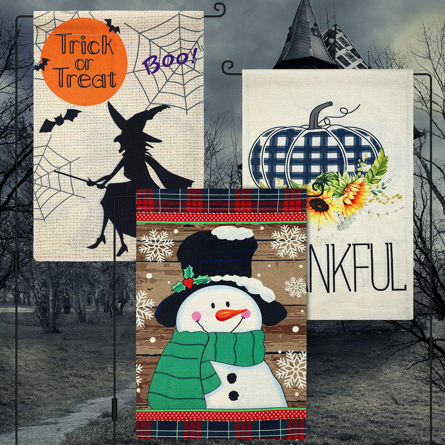 Tatuo 3 Pieces Christmas Flags Seasonal Garden Flags for Christmas Decorations Fall Thanksgiving Christmas Decorations Double Sided Burlap House Flag for Outdoor Yard 12 x 18 Inch
