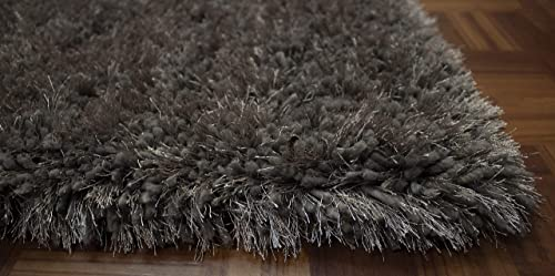 5×7 Feet Dark Gray Dark Grey Color Solid Plush Shag Shaggy Fluffy Fuzzy Furry Area Rug Carpet Rug Modern Contemporary Design Large Pile Decorative Designer Indoor Bedroom Living Room Hand Woven
