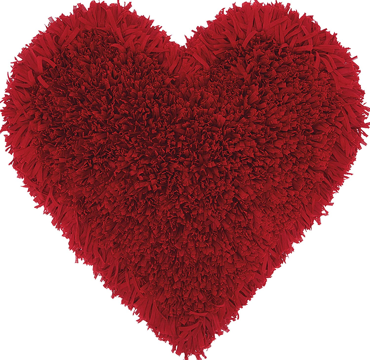 Mina Victory by Nourison TL001 Frame Heart Shag Throw Pillow 18 x 18 Deep//Red