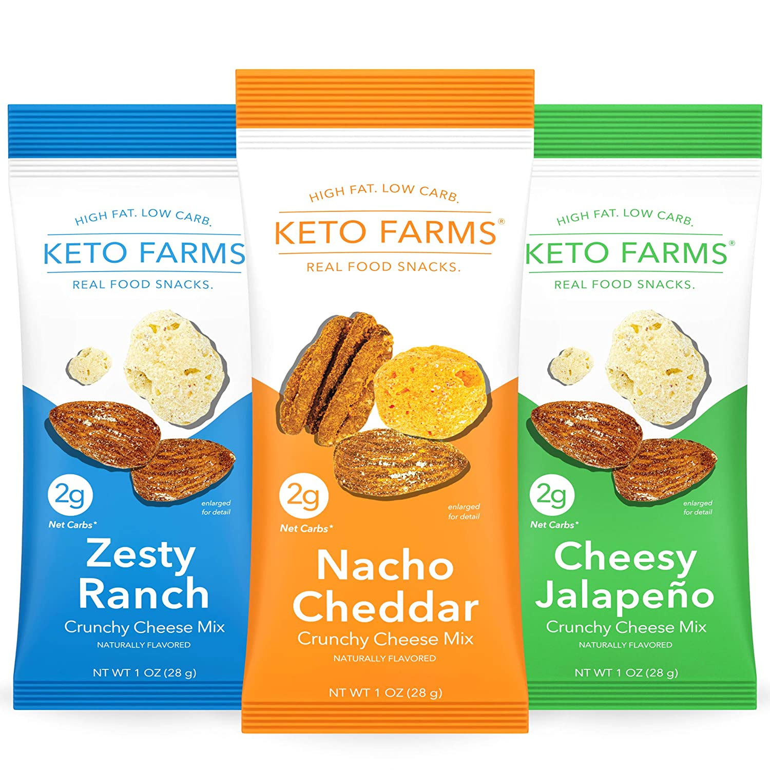 Keto Farms, Crunchy Cheese Mix, Keto Snacks (2g Net Carb) [Variety Pack] 1 Ounce, 6 Count | Keto Friendly Low Carb Snacks - Real Food, Bold Flavor, Satisfies Keto Chips Cravings, Portion Control