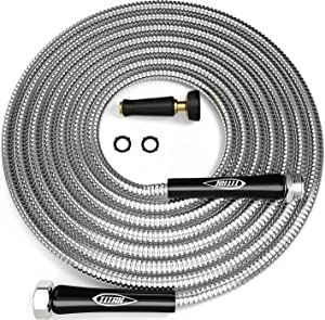 TITAN 75FT Metal Garden Hose | Stainless Steel Water Hose with Solid Aluminum Connectors 360 Degree Brass Nozzle Lightweight Kink Free Strong Durable and Heavy Duty