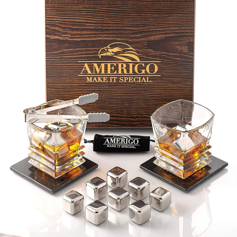 Amerigo Whisky Piedras Set de Regalo de Acero Inoxidable con 2 Vasos de Whisky - Alta Tecnología de Refrigeración - Regalos Hombre - 8 Reutilizables Cubitos de Hielo + Posavasos Originales + Pinzas
