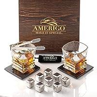 Amerigo Exclusive Whiskey Stones Gift Set - Whiskey Glass Set + 8 Stainless Steel...
