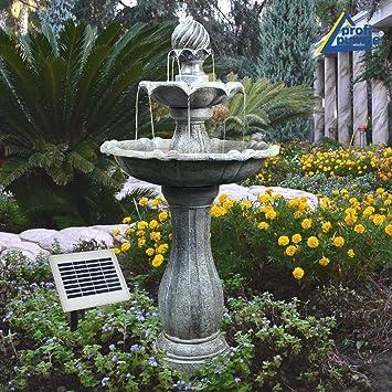 Solar Gartenbrunnen Brunnen Solarbrunnen Zierbrunnen Vogelbad