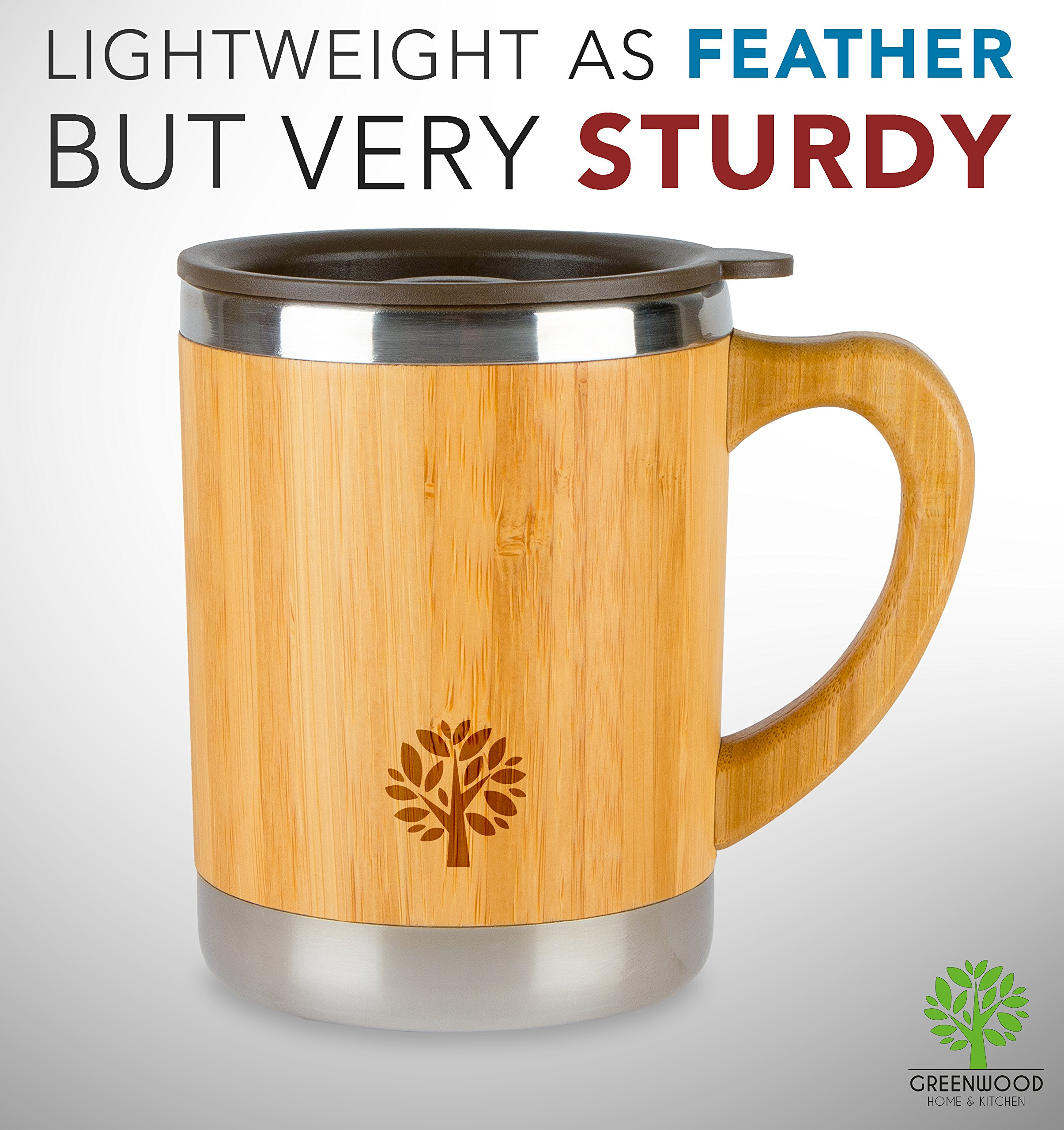 Stainless Steel & Bamboo Coffee Mug - Insulated Wooden Cup with Handle & Lid - Non-Spill On the Go - Keep Your Tea Hot Longer - Unique Gift for Men & Women - 11 oz / 300 ml by JJecommUS (Image #8)