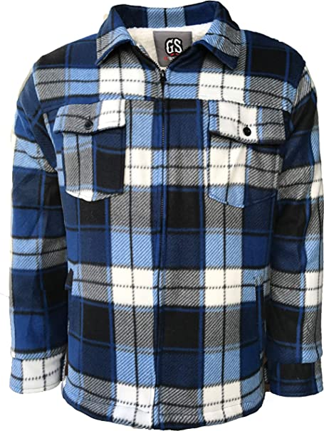 Mens Quilted Padded Sherpa Shirt Lumberjack Flannel Work Jacket Check Warm M-XXL