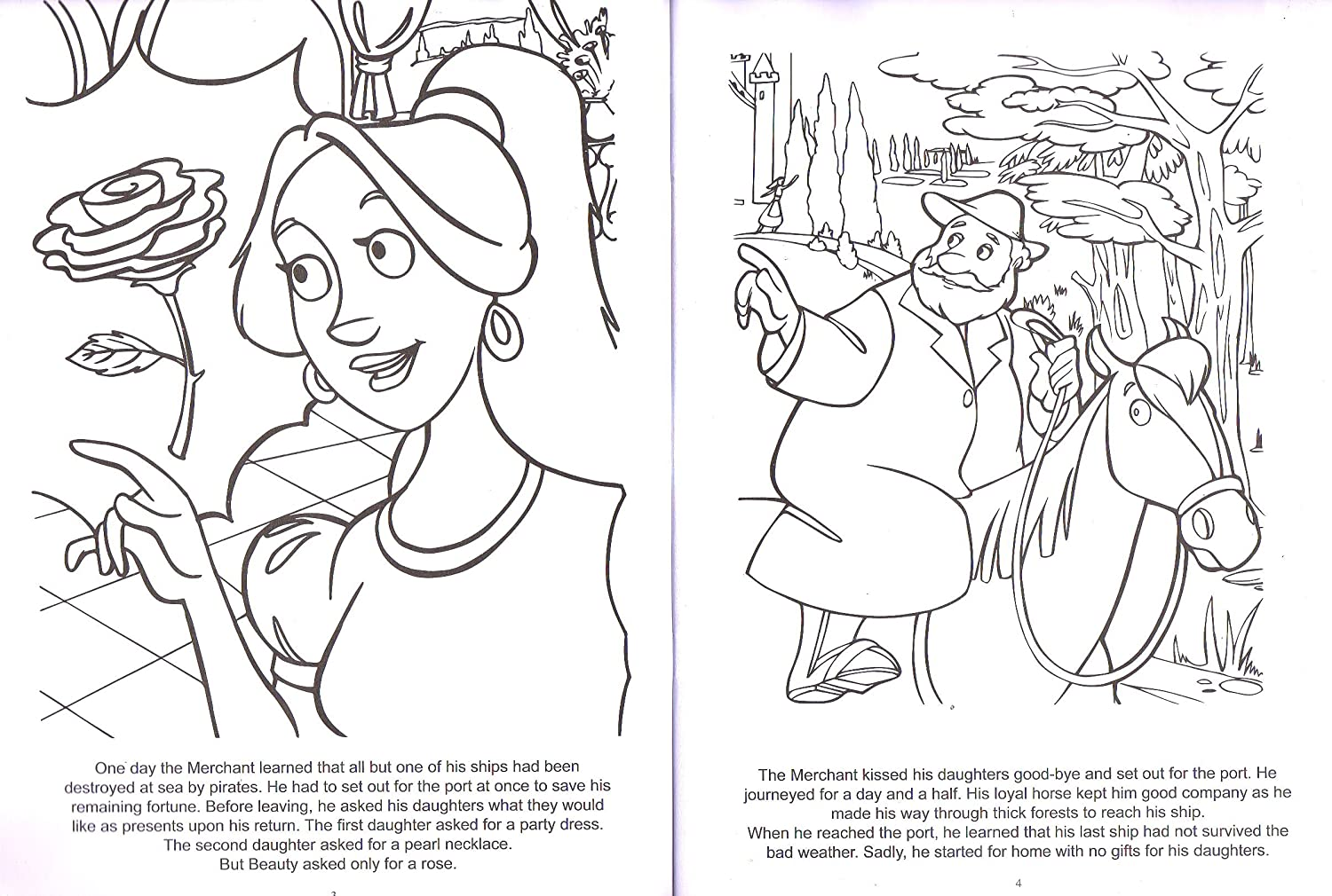 Coloring Book Paper Craft Classic Tales Beauty and the Beast Color The Story