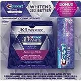 Crest 3D White Luxe Whitestrips Dental Teeth Whitening Strips Kit, Glamorous White, 21 Treatments + BONUS Crest 3D White Radiant Mint Toothpaste