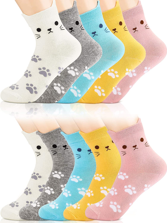 10 Pairs Cute Animal Cat Sock Cotton Casual Funny Footprint Sock for Girls Women