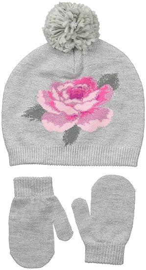 Amazon.com  Little Me Little Girls Flower Intarsia Beanie Set 86fc8ed5acb2