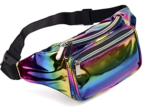 1390b76bdc65 Rainbow Fanny Pack for Women Girls 80s Holographic Rave Festival Party  Waist Belt Bags