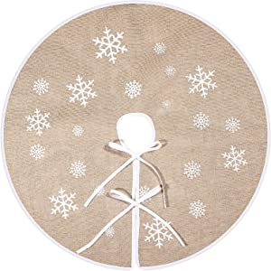 Tatuo Christmas Tree Skirt White Snowflake Printed Burlap Tree Skirts Tree Base Cover for Christmas Xmas Holiday Decorations (80cm)