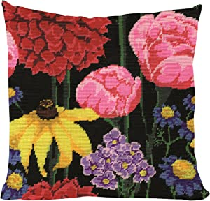 "Tobin 2615 Stitched in Acrylic Yarn Midnight Floral Needlepoint Kit, 12"" by 12"", Multicolor"