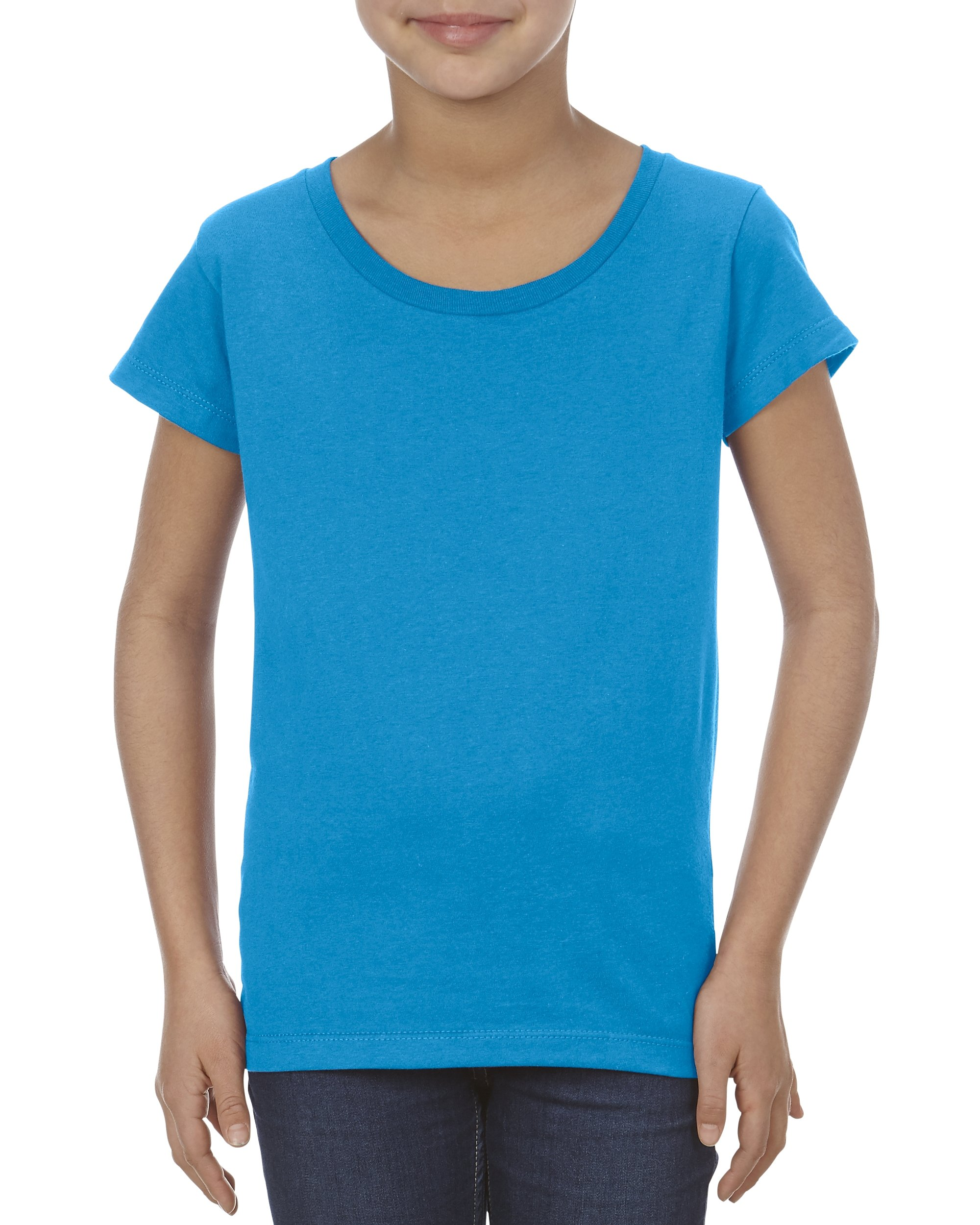 Alstyle Apparel AAA Big Girls' Youth Ultimate Ringpsun T-Shirt, Turquoise, Large by Alstyle Apparel