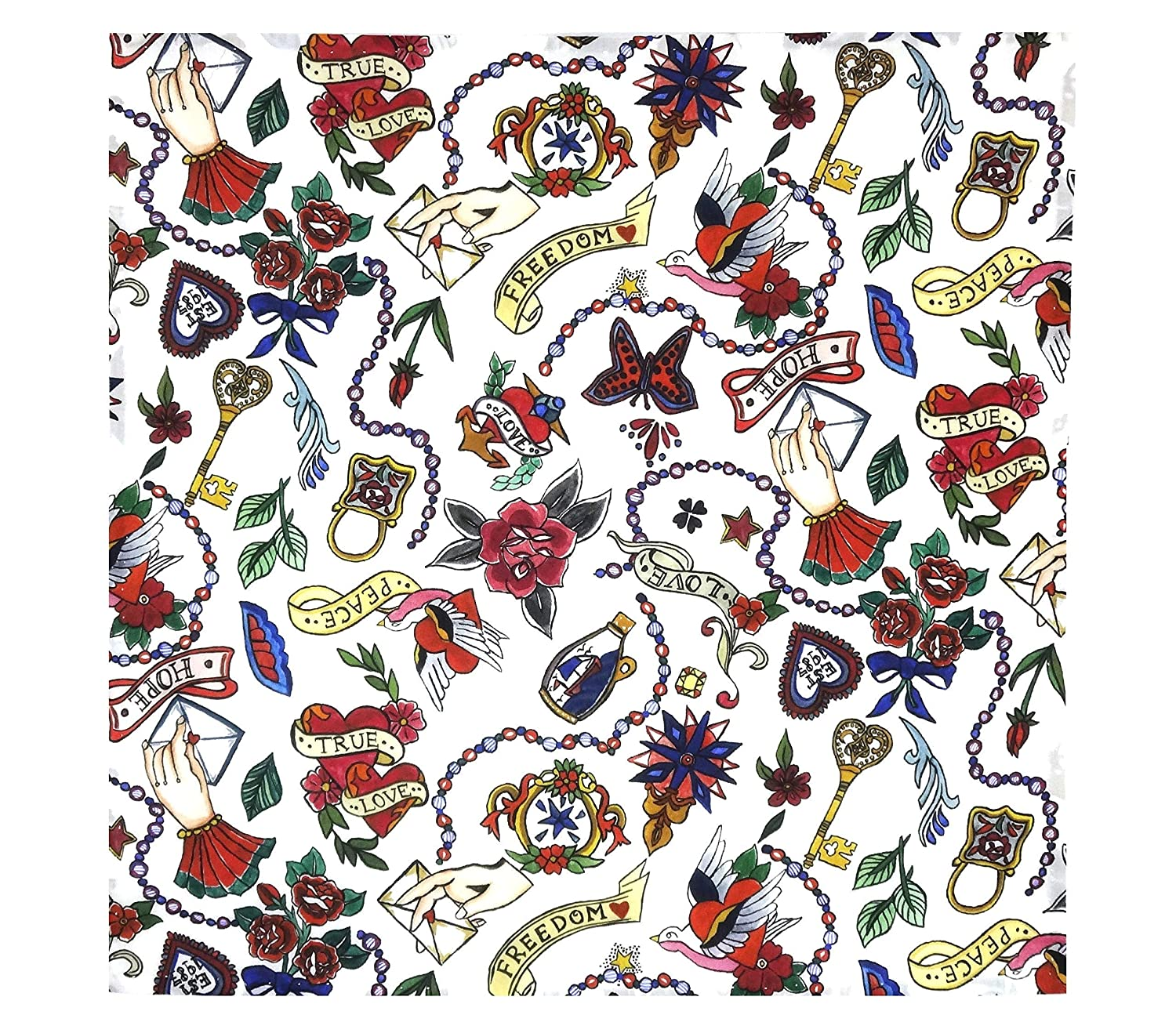 Hand Stitched Hem 29 x 29 cm Love Letters Liberty Tana Lawn Pocket Square Red