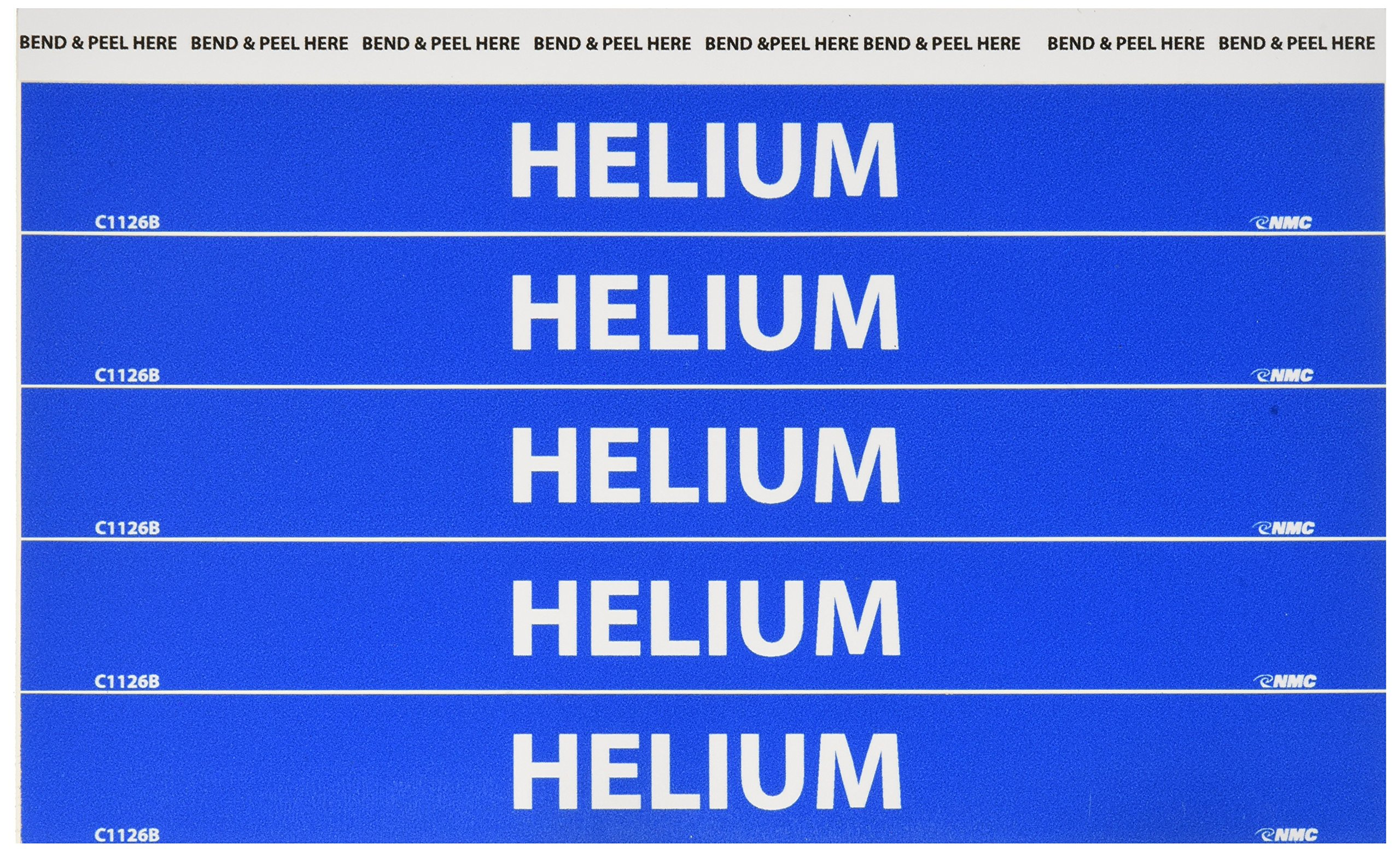 NMC C1126B Pipemarkers Sign, Legend''Helium'', 9'' Length x 1'' Height, 1/2'' Letter Size, Pressure Sensitive Vinyl, White on Blue (Pack of 25)