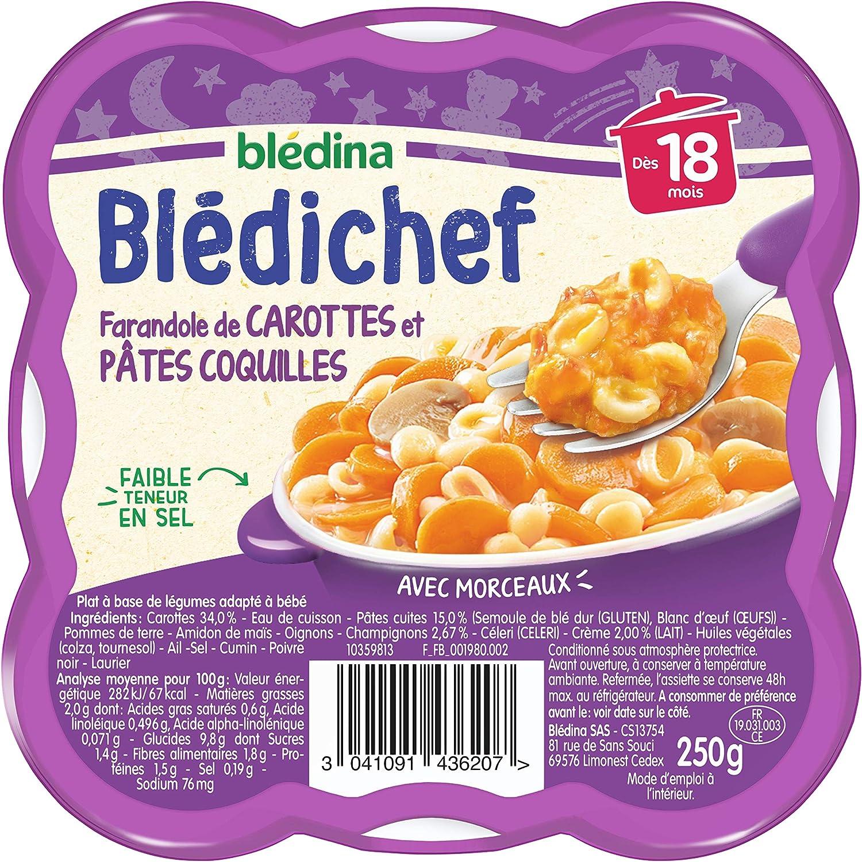 Blédina Blédichef Farandole de Carottes/Pâtes Coquilles Dès 18 Mois 250 g - Pack de 9: Amazon.es: Alimentación y bebidas