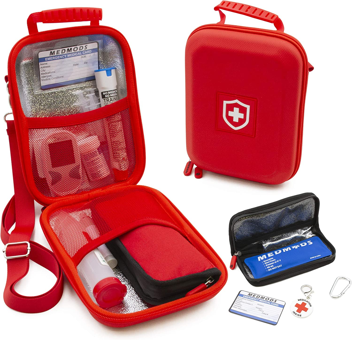 MEDMODS Insulin Cooler Travel Case and Insulated Diabetes Bag with Ice Pack, ID Card, Medical Alert Tag & Shoulder Strap - Protective Insulin Pen Case for Diabetic Medication & Essentials, Case Only