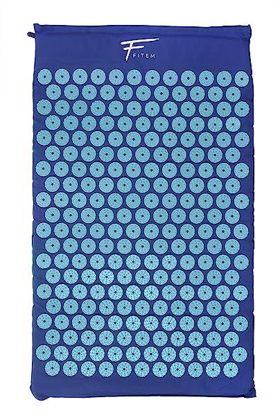 Kit de acupresión Fitem - Esterilla de acupresión + Cojín de acupresión + Bolsa + Bola de masaje - Alivia dolores de Espalda y Cuello - Ciática - ...