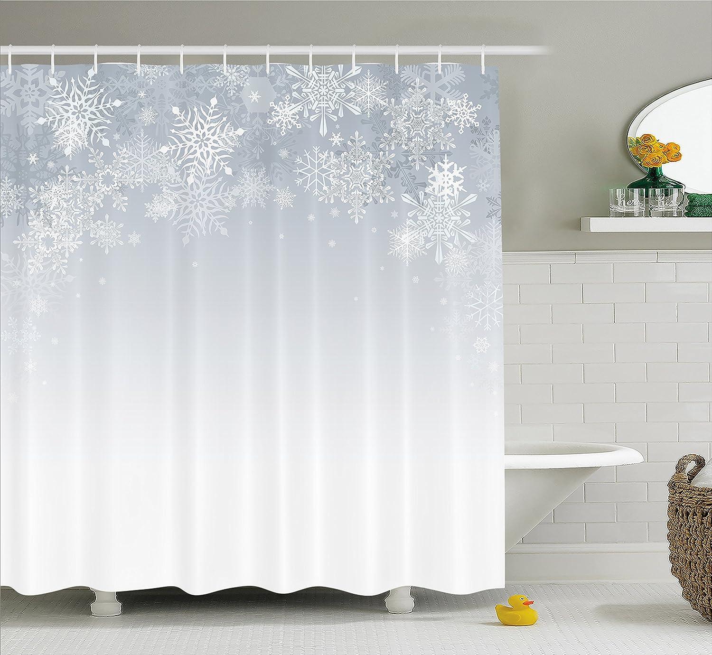 Geometric Christmas Pattern Shower Curtain Fabric Decor Set with Hooks 4 Sizes