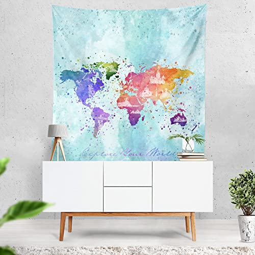 Lume.ly – Colorful World Map Large Wall Tapestry, Exclusive Vibrant Art Decor for Bedroom Living Room Dorm Wall Decor, Wall Hanging, Beach Tapestries 60×80 inches