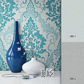Newroom Barocktapete Tapete Turkis Ornament Barock Vliestapete Vlies Moderne Design Optik Barocktapete Wohnzimmer Glamour Inkl