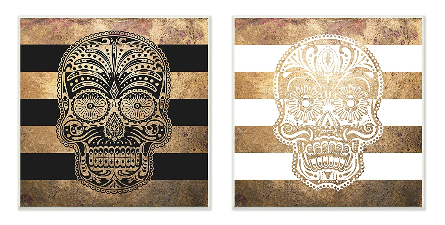 Proudly Made in USA 12 x 0.5 x 12 Stupell Home D/écor Sugar Skulls Boho Golds Graphic Wall Plaque 2-Piece Set