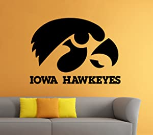 Iowa Hawkeyes Wall Decal Vinyl Sticker NCAA College Football Home Interior Removable Decor (22