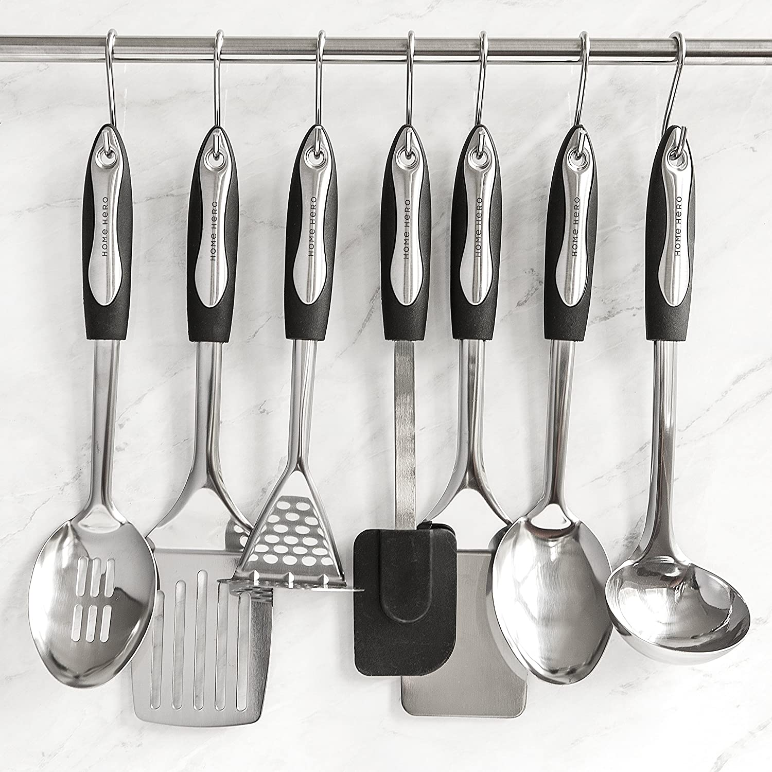 Amazon.com: Stainless Steel Kitchen Utensil Set - 25 Cooking ...
