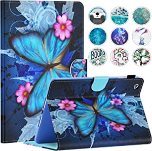 iPad Mini Case, Mini 2/3/4/5 Case, Dteck Slim Fit Folio Stand Leather Case with Auto Sleep/Wake Magnetic Wallet Smart Cover for Apple iPad Mini 1/2/3/4/5 (Blue Butterfly & Pink Flower)