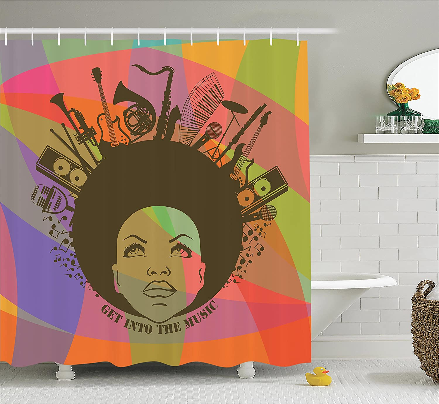 Music bathroom set - Amazon Com Afro Shower Curtain Music Decor By Ambesonne Illustration Of African American Young Woman Portrait With Musical Instruments Image