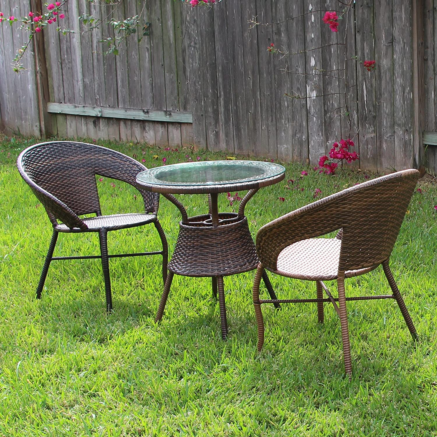 Amazon com yongcun outdoor furniture patio chair table set patio resin rattan one table and two chair type b garden outdoor