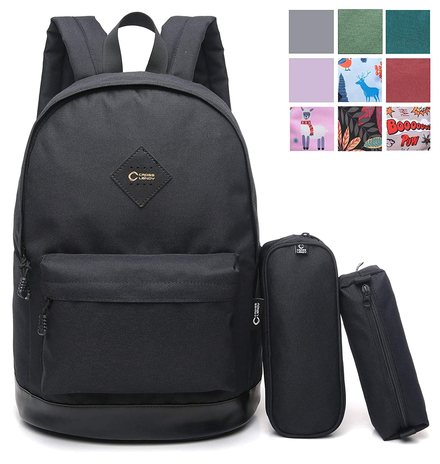 "ab9440468140 Amazon.com  CrossLandy Classic School Bookbag Lightweight College 15"" Laptop  Backpack Set  Clothing"