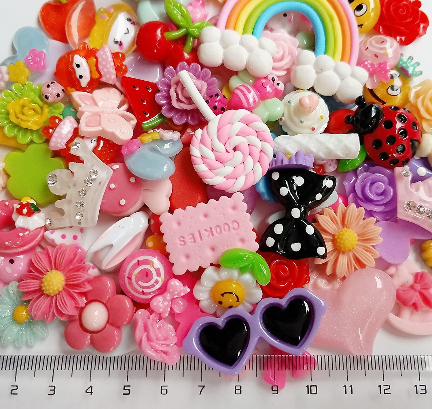 Chenkou Craft 50pcs Lots Mix Assort Easter DIY Flatbacks Resin Flat Back Buttons Scrapbooking Slime Charm Chenkou Trade B0489MIX50