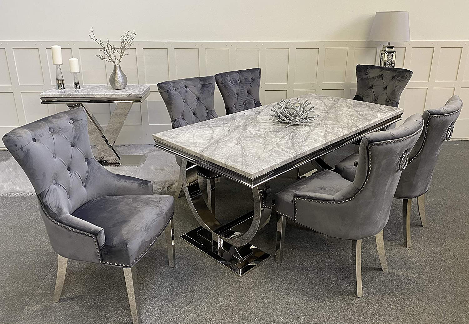 Schwarze Furniture Arianna Grey Marble Mirrored Dining Table and 6 Carlton Chairs  Set: Amazon.co.uk: Kitchen & Home