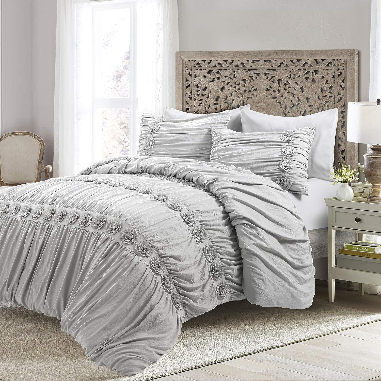 Lush Decor, Light Gray Darla 3 Piece Comforter Set, King