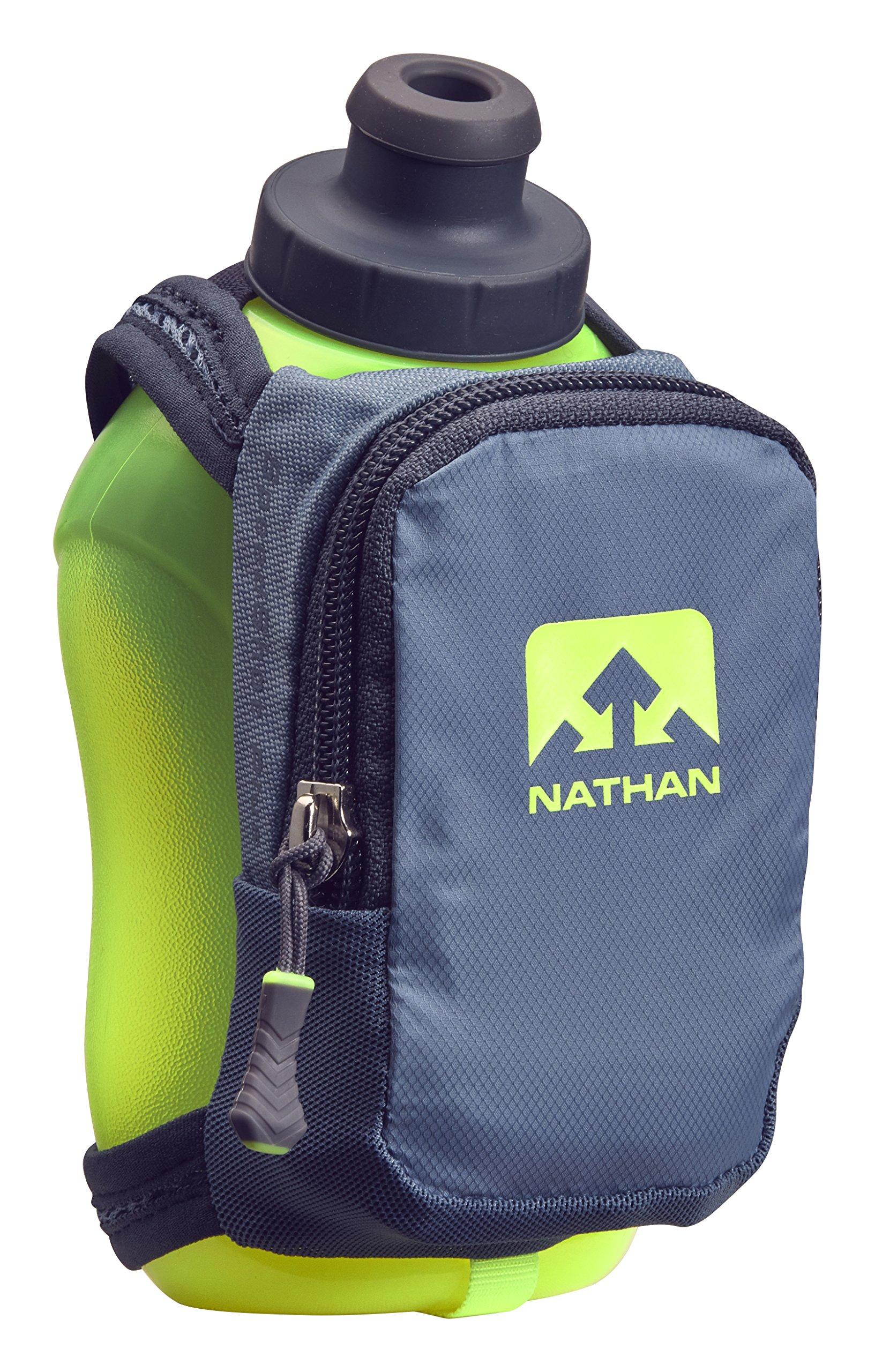 Nathan NS4859 Speedshot Plus Quick Grip 12 oz Running Water Bottle Flask with Zip Pocket, Blue Stone