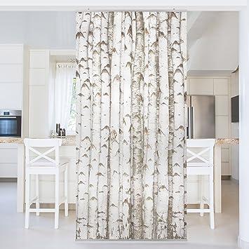 Vorhänge Als Raumteiler flächenvorhang set no yk15 birkenwand bäume wald holz baumstämme