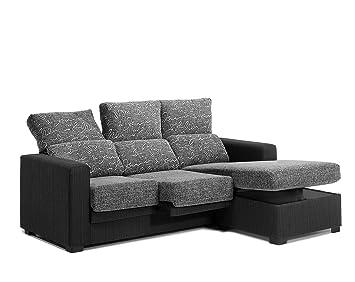 SMT - Sofa Chaise Longue Roll 210 Ctms. Gris/Negro, 90 X 210 ...