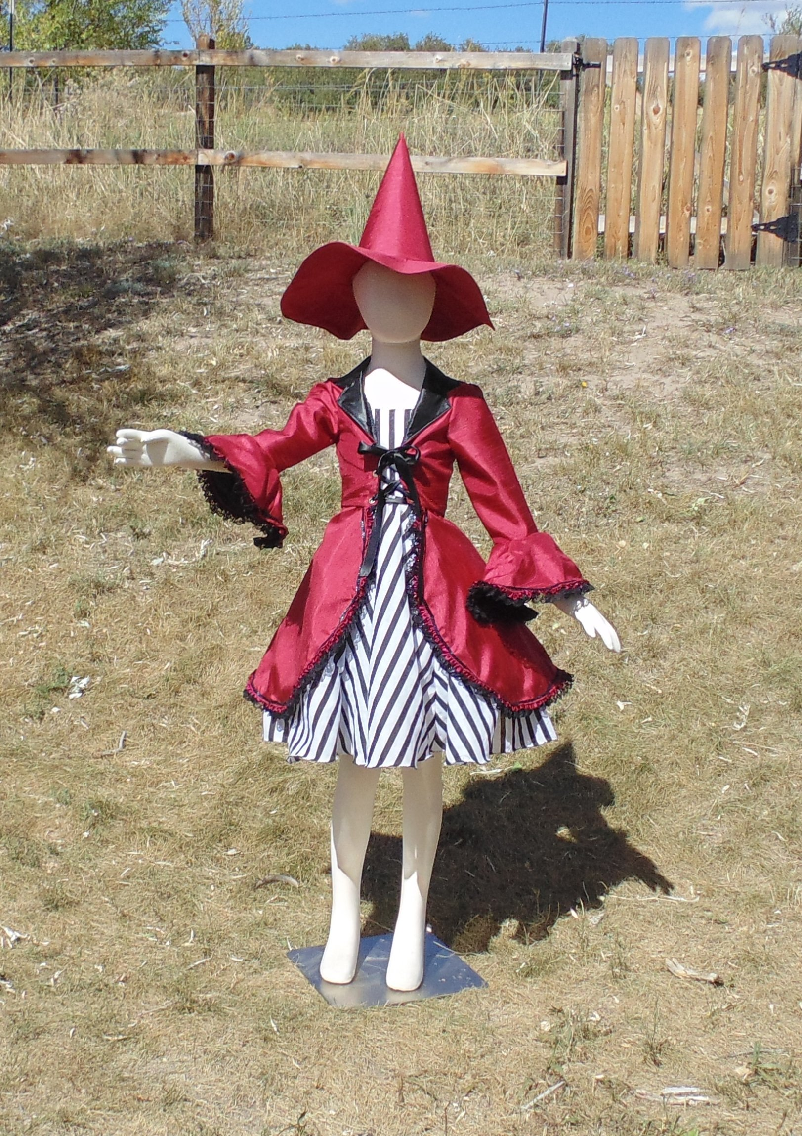 Girls 6-8 4 piece red Hocus Pocus Witch in crushed velvet by Fru Fru and Feathers Costumes & Gifts