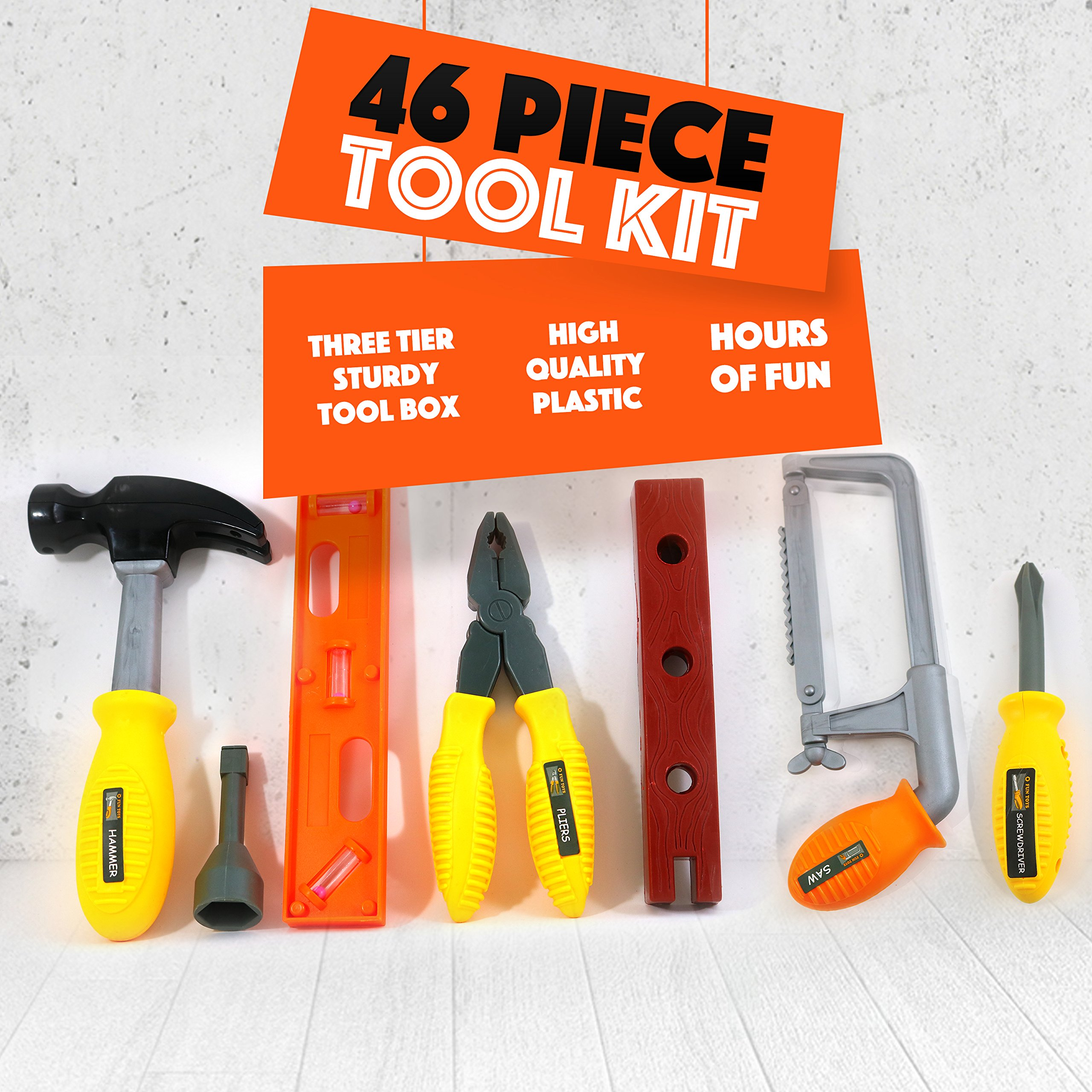 Big Mo's Toys 46 Piece Toy Tool Box and Kid's Tool Kit - Includes Drill, Hammer, Saw, Tri Level Case and Many Construction and Building Tools and Accessories by Big Mo's Toys (Image #4)