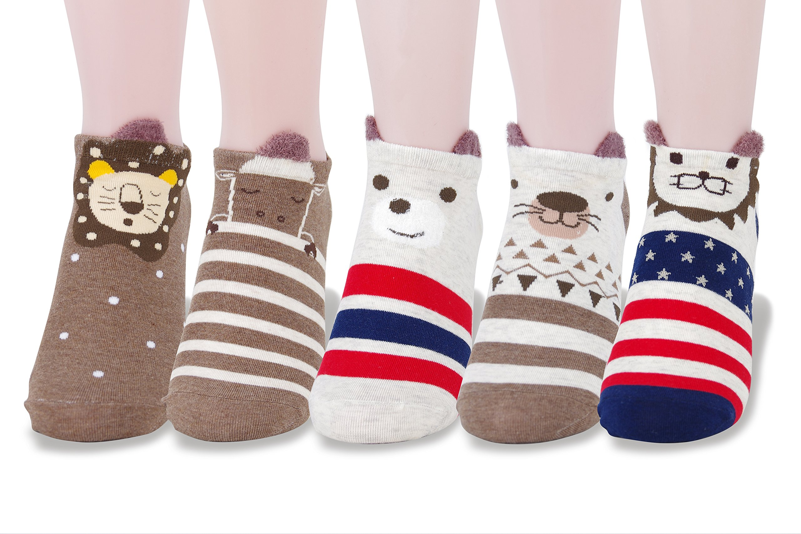 LL&Love 100% Cotton, Cute, Funny and Fashionable Casual Women's Low Cut Animal Socks (Style 11)