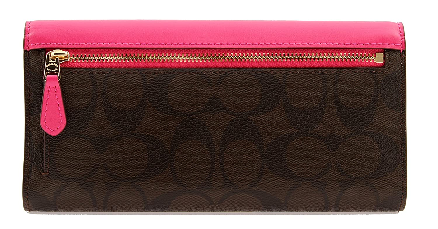 Amazon.com: COACH Signature Coated Canvas Checkbook Wallet in Bright  Fuchsia, F57319: Clothing